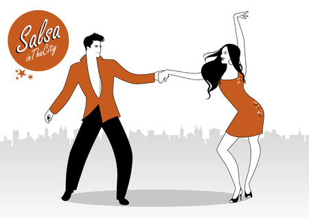 Salsa in the City. Young couple dancing latin music: salsa, merengue, bachata, ... Illustration