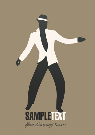 Man silhouette dancing jazz or latin music. Vector illustration
