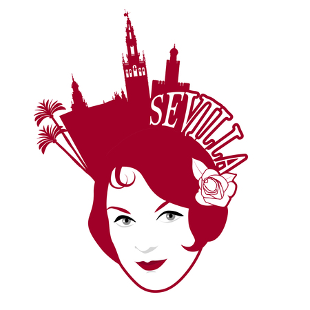Symbolic image of Seville. Woman wearing comb with Seville monuments