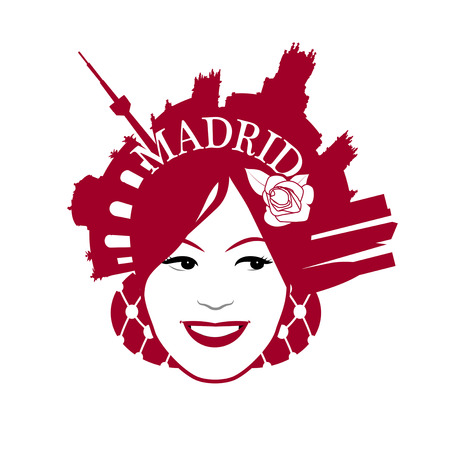 Symbolic image of Madrid. Woman wearing comb with Madrid monuments Vettoriali
