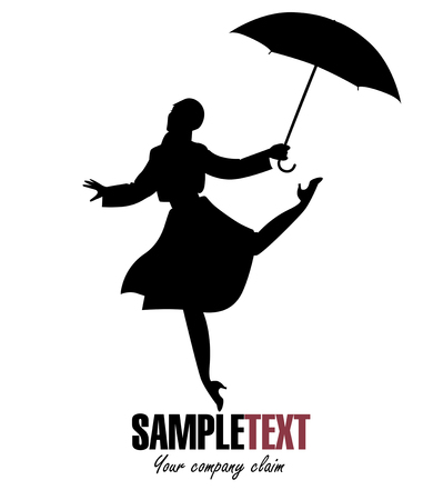 Silhouette of girl in raincoat and umbrella jumping and dancing