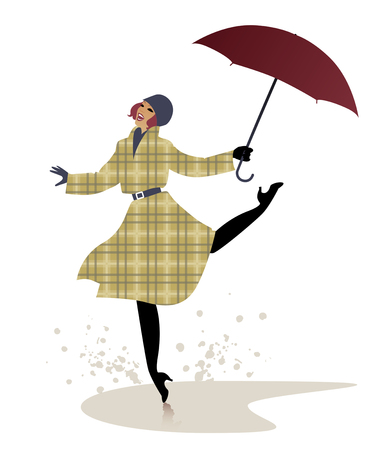 Girl in raincoat and umbrella jumping and dancing on a puddle