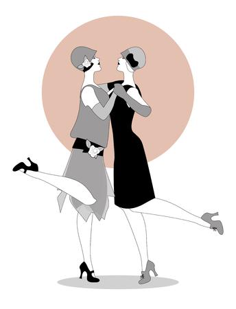 flappers: Dos muchachas de las aletas que desgastan la ropa de los años 20 que bailan Charleston. Ilustración vectorial Vectores