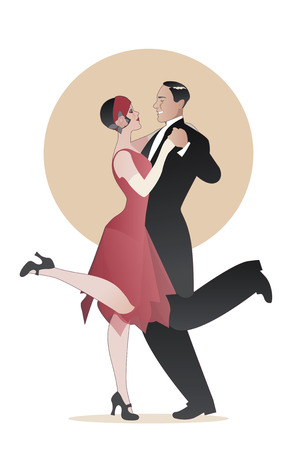 Elegant couple wearing 20's style clothes dancing charleston. Vector Illustration