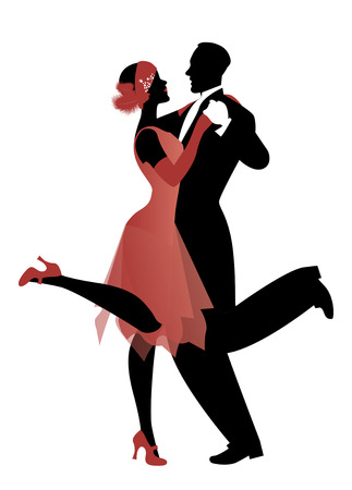 Elegant couple wearing 20's style clothes dancing charleston. Vector Illustration 免版税图像 - 79077233
