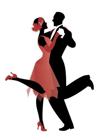 flapper: pareja elegante con ropa de estilo años 20 bailando charleston. Ilustración del vector