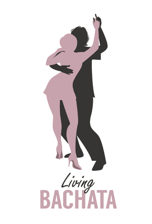 Young couple silhouettes dancing bachata, salsa or latin music. Vectores