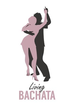 Young couple silhouettes dancing bachata, salsa or latin music. Illustration