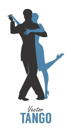 Silhouette de couple élégant dansant le tango. Illustration vectorielle