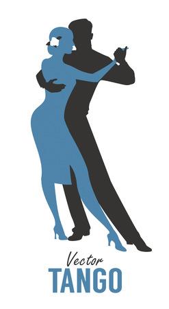 Silhouette d'élégant couple dansant le tango. Illustration vectorielle