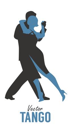 Silhouette of elegant couple dancing tango. Vector Illustration