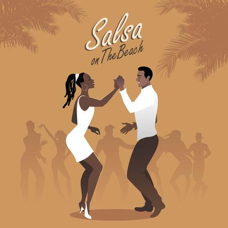 サルサを踊る若いアフロ アメリカン カップル。ベクトルの図。  イラスト・ベクター素材