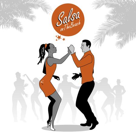 Afroamericano joven pareja de baile de salsa. Ilustración del vector.