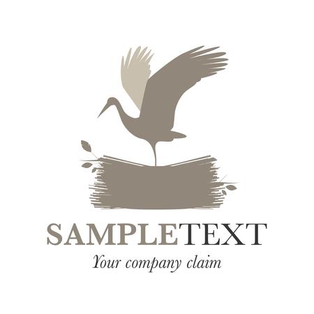 Stork on a nest. Vector Illustration. Good for logo.