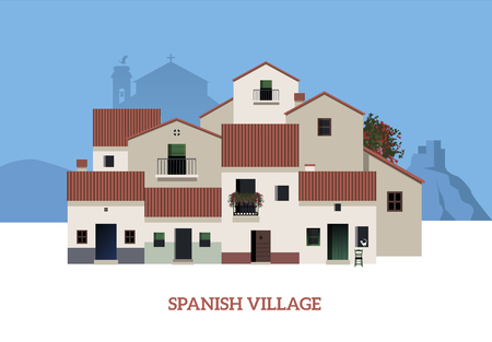 Typical Spanish Village. Vector Illustration