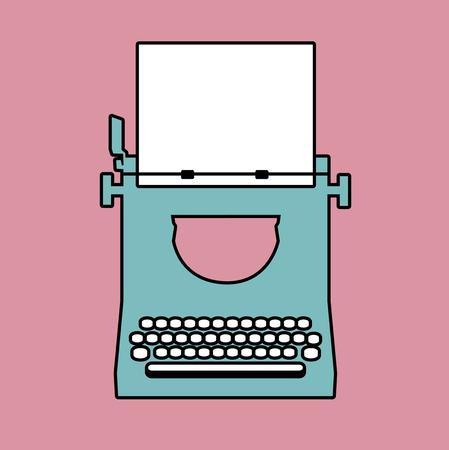 Logo style retro outlines. Typewriter. Vector Illustration Illustration