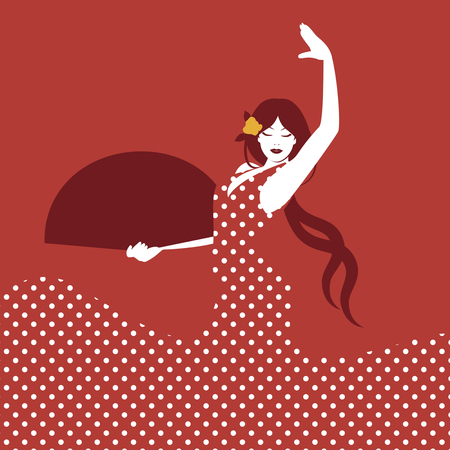 latina: Spanish flamenco dancer. Vector Illustration