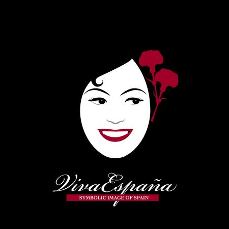 スペインの象徴的なイメージです。彼女の髪にカーネーションと女性頭部  イラスト・ベクター素材