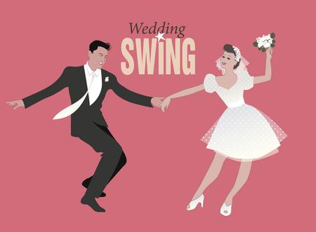 Wedding Dance. Bride and groom dancing swing, lindy hop or rock and roll