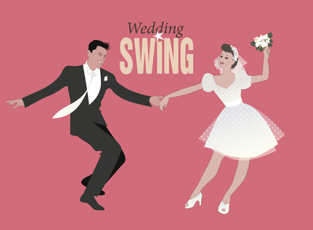 Wedding Dance. Bride and groom dancing swing, lindy hop or rock and roll