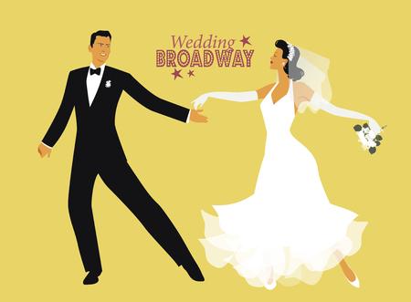 웨딩 댄스. 신부와 신랑 춤 브로드 웨이 스타일