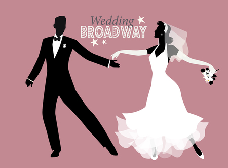 Wedding Dance. Bride and groom dancing Broadway style