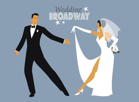結婚式のダンス。ブロードウェイ スタイルを踊る新郎新婦