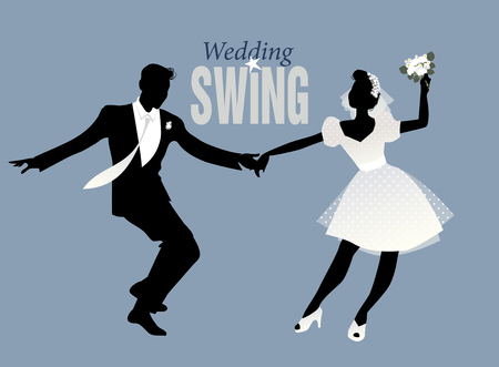 rockabilly: Wedding Dance. Bride and groom dancing swing, lindy hop or rock and roll