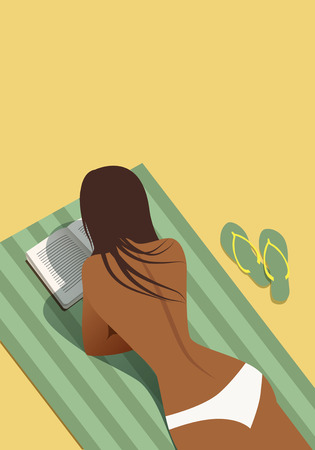 Girl reading on the beach lying on a towel. Vector Illustration