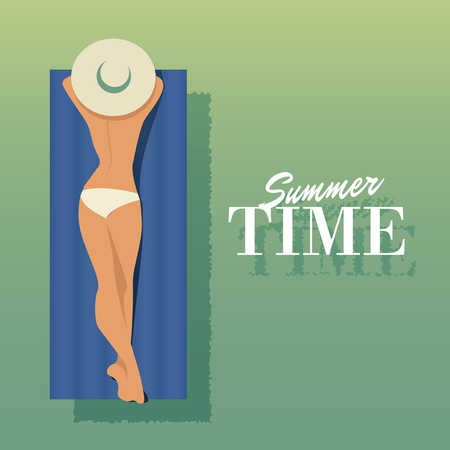 woman floating: Girl sunbathing on a float in the water. Vector Illustration Illustration