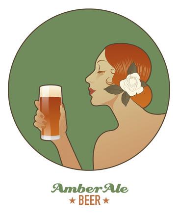 Femme tenant un verre de bière Amber Ale. Style vintage. Banque d'images - 80832186