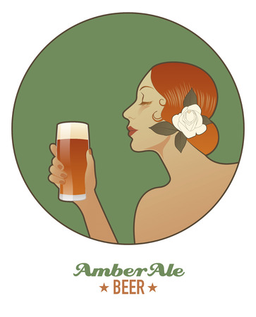 Woman holding a glass of beer. Amber Ale. Vintage style. Illustration