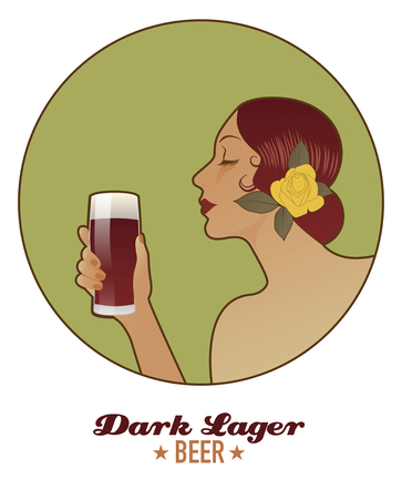 Woman holding a glass of beer. Dark Lager. Vintage style. Illustration