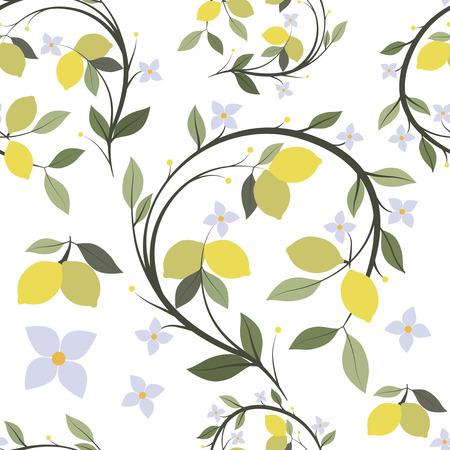 Patroon van citroen tak boom met bloemen en bladeren. Naadloos Vector Illustratie