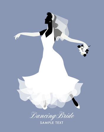 Elegant bride dancing with bouquet in hand. Vector Illustration