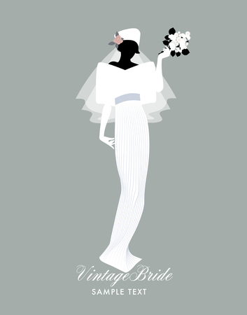 Elegant bride dressed in vintage style wedding dress. Vector Illustration