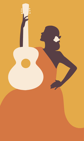 Spanish woman with guitar. Symbolic image of Spain. Vector Illustration.