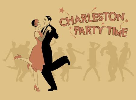 Couple élégant portant des vêtements de style de 20 danse charleston. Illustration Vecteur Banque d'images - 81313427