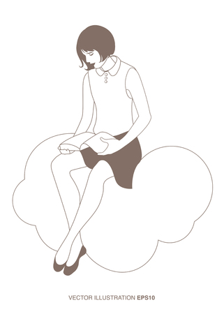 flat earth: Girl reading sitting on a cloud. The sky and the sea in the background. Vector Illustration