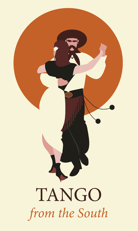 Typical couple from South America dancing tango. Vector Illustration Vettoriali