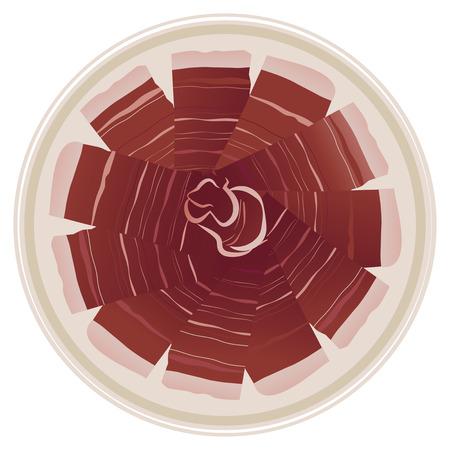 Nourriture typique espagnole: jambon ibérique. Illustration vectorielle