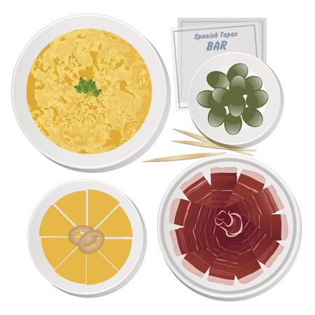 Typical Spanish Food. Tapas. Cheese, Potato Omelette, Iberian Ham, Olives Vektoros illusztráció