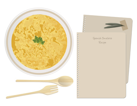Typical Spanish Tortilla. Spanish Potato Omelette. Sheet of notebook recipe Illustration