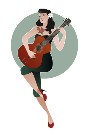 Beautiful and tattooed pin-up girl playing guitar. Vector Illustration