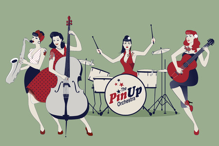 PinUp Girls Band. Four beautiful and tattooed pinup girls playing music. Vector Illustration
