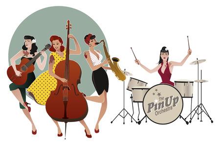PinUp Girls Band. 음악을 연주 네 아름답고 문신 핀 업 소녀. 벡터 일러스트 레이션 일러스트