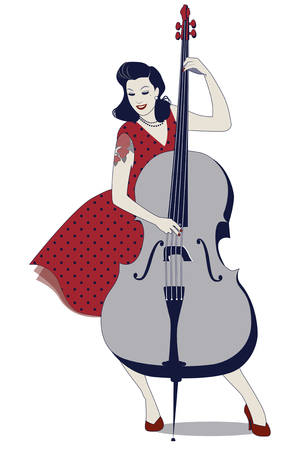 Beautiful and tattooed pin-up girl playing double bass. Vector Illustration Reklamní fotografie - 82987079