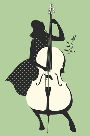 Beautiful and tattooed pin-up girl playing double bass. Vector Illustration