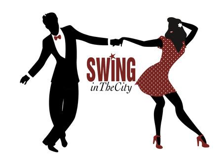 スイング、リンディ ホップやロックン ロールを踊る若いカップルのシルエット