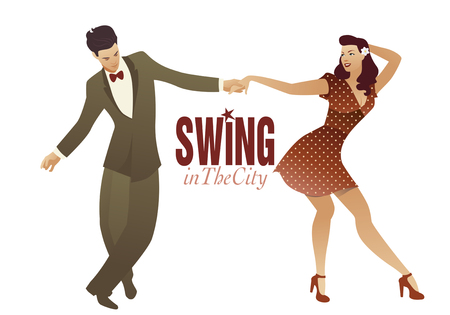 Jong koppel dansen swing, lindy hop of rock and roll Stockfoto - 82986267